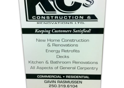 K&C's Construction Rigid Sign